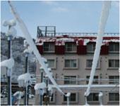 通信線への着雪の様子