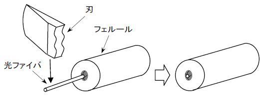 突き出た光ファイバの先端部分に刃の側面を軽く当て押すことで、余分な光ファイバを切断する。