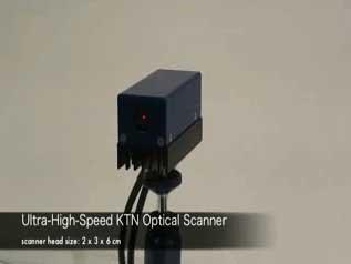 信号電圧で光の方向が変化する、新しい原理による高速光スキャナです