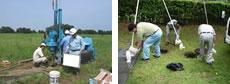 土壌試料採取、排水採取の様子