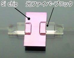 光ファイバアレイをシリコンチップに接続した例